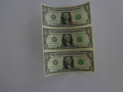 3 UNCUT SHEET $ 1 ($1 X  3) Legal USA 1 DOLLAR*Real Currency NOTES*RARE BILLS