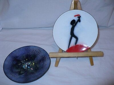 1950S Modern Abstract Enamel Copper Art Plate Expo 67 Montreal Torch & M.allard