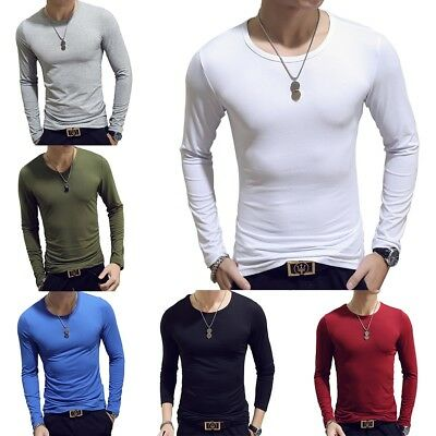 Mens Slim Fit  O Neck Long Sleeve Slim T-shirts Casual Tee Shirt Tops Blouse Lot