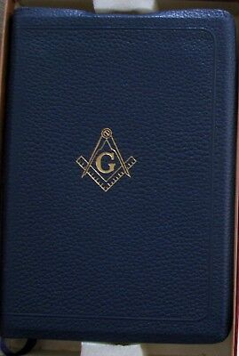 Holy Bible Masonic Edition Masonry Circa 1950 FINE NOS Blue Leather Gilt w/Box
