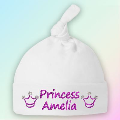 Princess Crown Embroidered Baby Knotted Hat Gift Personalised