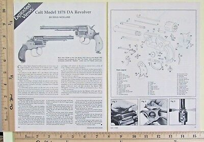 1989 COLT MODEL 1878 DOUBLE-ACTION REVOLVER 2-Page EXPLODED VIEWS Article 9868