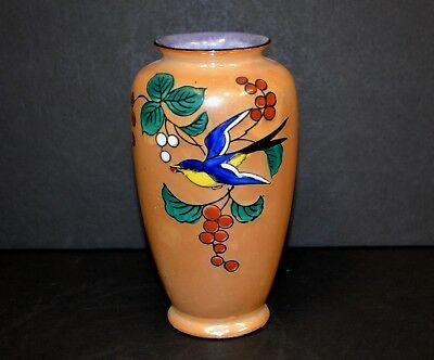 "Vintage Hand Painted Japanese Gold Lusterware Vase Blue and Yellow Bird 6.25""Tal"