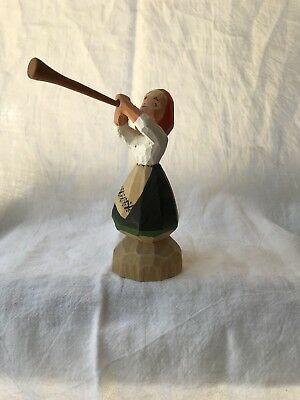Henning Of Norway Hand Carved Figurine Girl Playing A Horn