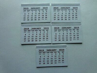 5 Mini 2019 Monthly Tear Off Calendar Pads (Jan-Dec) Back Page Is Blank Crafts