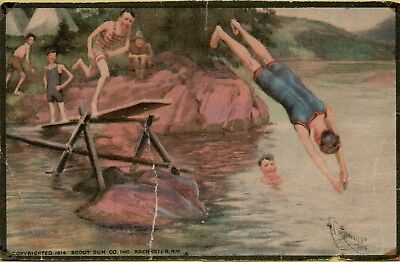 Boy Scout Gum Company Boys Diving and Swimming Scouts Postcard C27