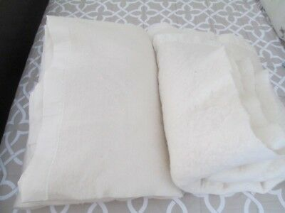 Vintage Chatham 100% Wool Blankets - Cream Color Pair (2) 77 x 79 and 79 x 94