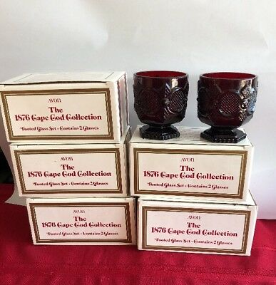 NEW AVON The 1876 Cape Cod Ruby Red Collection Set Of 10 Footed Glasses w/ box