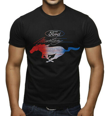 Men's Ford Mustang Red White & Blue Black T Shirt Fastback GT Classic Car Racing