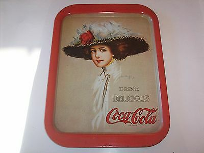 COCA-COLA Tray -- Hamilton King Girl With Big Red Hat 1909/1971