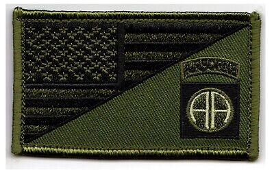 """82nd Airborne American Flag 2"""" x 3.5"""" OD Green Hook & Loop 2 Piece Patch"""