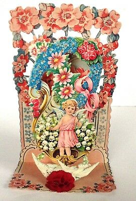 German Valentine Die Cut CHERUB CHILD FLOWERS Stand up, Pull-down Antique