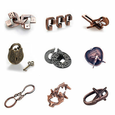 Metal Cast Puzzle Retro Vintage Lock Key IQ Mind Brain Teaser Novelty Toys Gifts