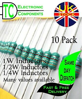 Inductor / Coil / Choke 1/4W and 1/2W Many values available (colour wheel)