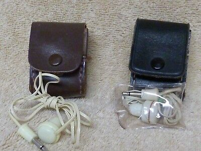 Vintage Lot of Two Transistor Radio Ear Buds with Two Leather Cases