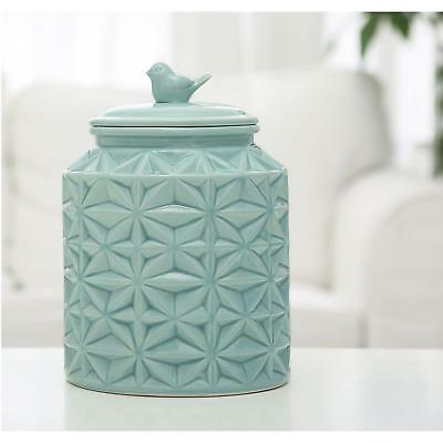 Turquoise Vintage Ceramic Kitchen Flour Canister/Cookie Jar w/Abstract Star