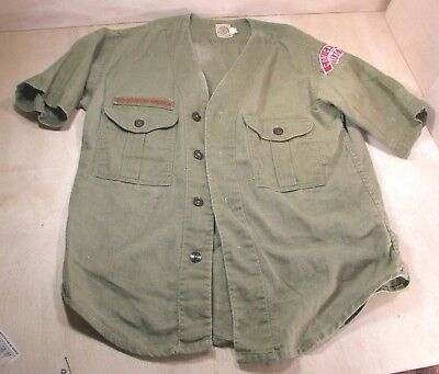 Vintage 50s 60s BSA Boy Scouts Twill Uniform Shirt Sanforized Collarless Patches