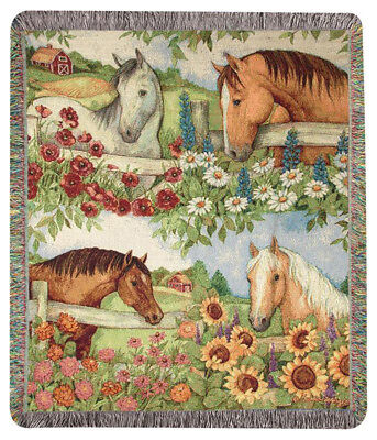 """Throws - """"Horse In The Garden"""" Tapestry Throw Blanket - 50"""" X 60"""" - Equestrian"""