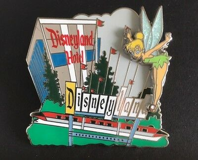 New Disney trading pin Disneyland Hotel Tinker Bell glitter Marquee monorail