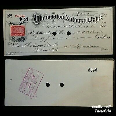 Thomaston National Bank Check, Maine dated May 15, 1900 (1898 tax stamp)