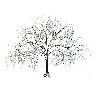 Black Tree Handcrafted Metal Wall Art -Wispy Wire Branches- Large Big Livingroom