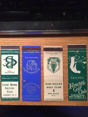 4 Vintage Matchbook Covers - New Jersey Golf & Country Clubs (1950s?)- free ship