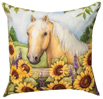 """Horse In The Garden With Sunflowers Indoor Outdoor Pillow - 18"""" Square"""