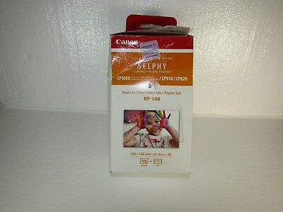Canon RP-108 Color Ink/Paper Set, Compatible w/SELPHY CP910/CP820/CP1200/CP1300