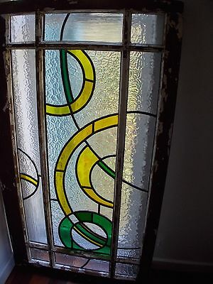 Stained glass leadlight in timber window frame