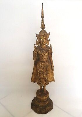 Antique Thai Gilt Bronze Gold Standing Buddha Rattanakosin 15.5''