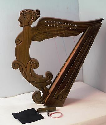12 string Angel Shape Harp with Free Bag, Tuning Key and Strings
