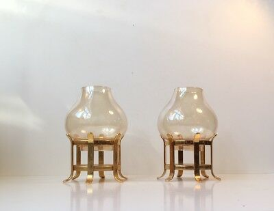 Vtg Pair Danish Modern Table Candle Holders Gilt Glass Hans-Agne Jakobsson era