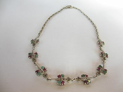 Vintage Italian ? Sterling Silver Marcasite Butterfly Necklace With  Rhinestones