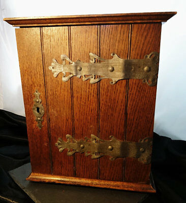 Large antique smokers cabinet, rustic oak cabinet, wall mountable