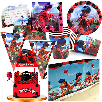Miraculous ladybug Table Cover banner BIRTHDAY PARTY LADY BUG balloon supply
