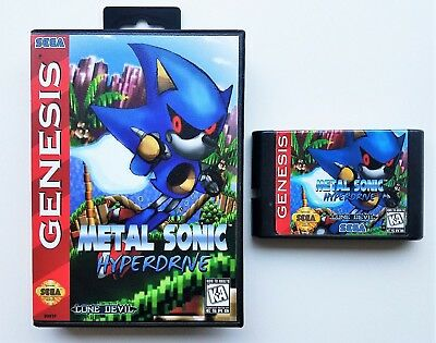 Metal Sonic Hyper Drive Game / Case  Sega Genesis Custom Hack (USA Seller)