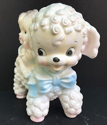 VTG Rubens Originals Ceramic Lamb w/Baby Girl Pink Blue Yellow-Shower-Nursery