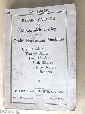 1926 REPAIR PARTS CATALOG INTERNATIONAL HARVESTER CO No 79-GM GRAIN HARVESTING
