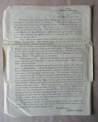 Green & Newell Bankers Circular 1856 NY Currency Exchange Land Warrants Paper