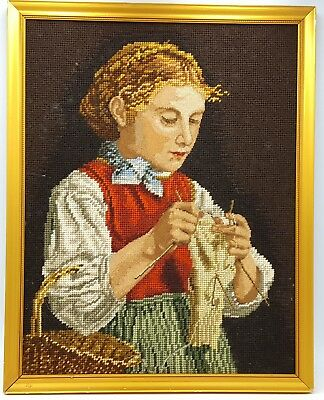 Vintage Embroidery Tapestry Portrait of Girl  picture