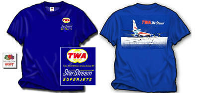 Twa - Star Stream T-Shirt - Trans World Airlines Boeing 707 - New - Large