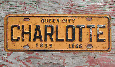 CHARLOTTE QUEEN CITY NORTH CAROLINA 1835 1966 LICENSE PLATE sign wall decor OLD