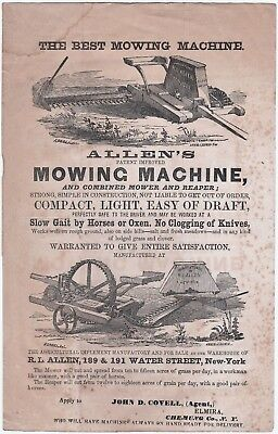 RARE Advertising Flyer / Broadside - Allen's Patent Mowing Machine 1856  NY