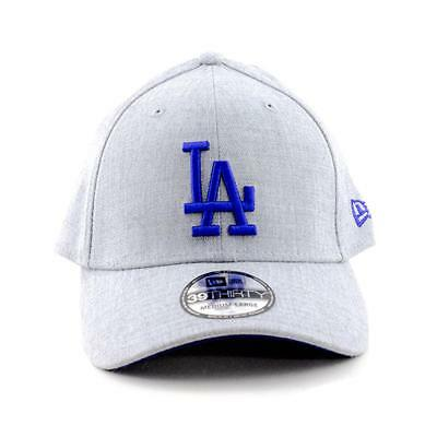 Los Angeles Dodgers New Era Cap MLB 39Thirty Curved Brim Hat In Heather Grey
