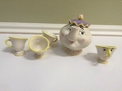 Disney's Beauty and the Beast Mrs. Potts and Chip tea set New in Box