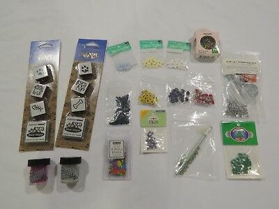 Lot of Eyelets & Tools, Turns & Brads, Glass Beads, Rubber Stamps, & Flowers