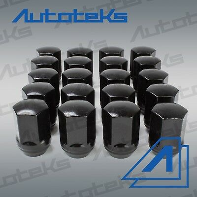 (20) Black M14x1.5 22MM Hex OE Style Lug Nuts Dodge Chevrolet Camaro Charger Set