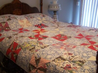 vintage quilt Pin wheel design, hand sewn and hand quilted