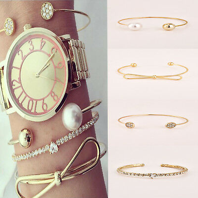 4pcs/set Luxury Gold Heart Love Full Crystal Chain Pearl Ball Bowknot Bracelet