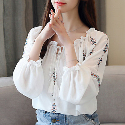 Autumn Womens Off Shoulder Long Sleeve Embroidery Chiffon Shirt Knot Blouse Tops